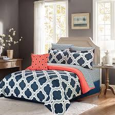 crest home ellen westbury 7 piece king comforter bedding set navy blue and grey quatrefoil discontinued no longer available
