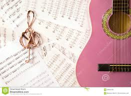 Treble Clef Music Sheet Violet Guitar For Children With Treble Clef Stock Photo Image Of