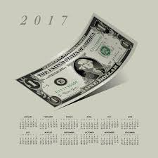 A Curled Dollar Bill 2017 Calendar Stock Vector - Illustration Of ...