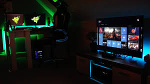 furniture other design stunning gaming computer setup with double monitor on shaped computer desk y comfort best computer furniture
