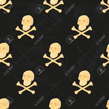 stock photo vector human skeleton seamless pattern with skulls and crossbones for wallpaper wrappingpaper fabric print creepy and horror background on