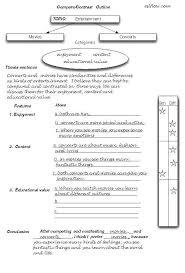 how to write a contrasting essay comparison contrast essay outline worksheet esl ell compare
