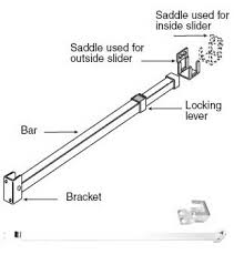wgsonline Sliding Patio Door Adjustable Security Bar Lock White Finish