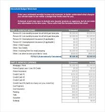 13 Household Budget Templates Free Sample Example