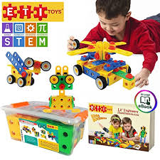 eti toys stem learning original 101 piece educational construction engineering building blocks set for