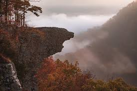 Foggy Mountain Landscape and Hawksbill Crag Silhouette in Autumn Photograph  by Gregory Ballos