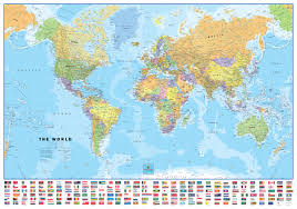 world classic with flags large wall map mural poster