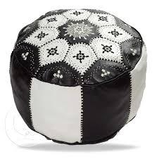 Black And White Pouf Sinia Morrocan Black White Leather Pouf Marrakech Market