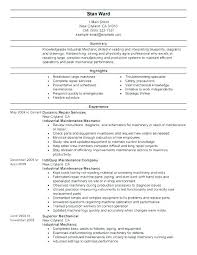 Resume For Maintenance Technician Maintenance Specialist Resume
