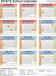 School Calendar 2015 2019 Template School Calendars 2015 2016 As Free Printable Word Templates