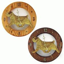 grizzle norfolk terrier dig oak wall clock darkk light