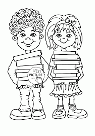 Children With School Books Coloring Page For Kids Back To School