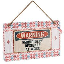 Job Description Embroidery Designer Amazon Com Neonblond Metal Sign Warning Embroidery Designer