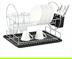 Kitchen Dish Rack Deluxe Chrome Plated Steel 2 Tier Dish Rack With Drainboard