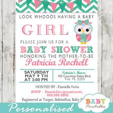 Mint Green Pink Owl Baby Shower Invitation Card D126 Baby