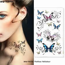 Nu Taty Poetické Létající Motýl Dočasné Tetování Na Tělo Umění