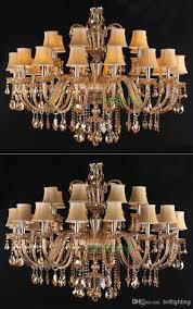 Großhandel Riesige Kronleuchter Für Wohnzimmer Stoff Schatten Kristall Kronleuchter Zeitgenössische Kristall Beleuchtung Mit Stoff Lampenschirm