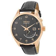 seiko srn054 men s kinetic leather black dial