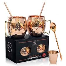 moscow mule mugs 100 solid copper food safe gift set of 2