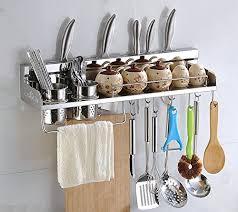 Amazon.com - Multipurpose Kitchen Utensils Holder Organizer 23.5 inch Wall  Mounted Pan Pot Rack, Spice Rack, Spoon Ladle Hanger, Knife block, Towel  rack, ...