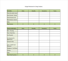 free download budget worksheet monthly budget spreadsheet for college students excel free download