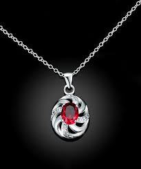 womens please see images for color ruby silvertone swirl pendant necklace alternate image 2