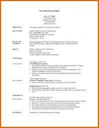 Internship Cv Template Resume Objective Badak Sampler College