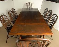 antique windsor dining chairs for sale. description: you are vieiwing a gorgeous set of 8 windsor arm chairs around matching oak refectory table. i hope the photos do this stunning antique dining for sale