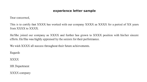 experience letter sample sample experince letter