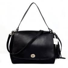 Online Coach Turnlock Medium Black Shoulder Bags AYQ