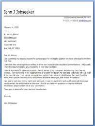 Gallery Of Restaurant Cover Letters