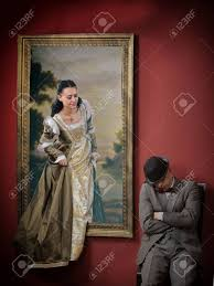 alive portrait of a meval lady escape from the painting stock photo 48601319