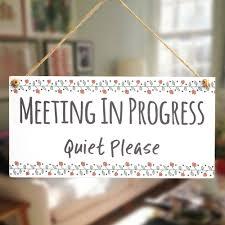 Quiet Please Meeting In Progress Sign Meeting In Progress Quiet Please Home Office Door Notice Hanging