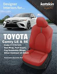 katzkin red leather int seat covers fit u s a model 2018 2019 toyota camry le se