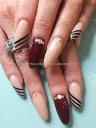 Social Build - Nude Acrylic With Freehand Nail Art And Swarovski ...