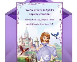 Electronic Birthday Invite Sofia The First Party Online Invitation Disney Family