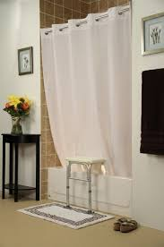 bench buddy hookless shower curtain simplicity white