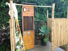 outdoor shower with curtains and stainless steel bar ideas for swimming pools areas outdoor shower