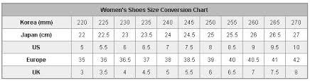Korean Shoe Size Conversion Chart Korean Shoe Size Chart Www Bedowntowndaytona Com