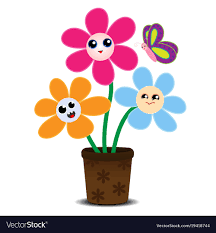 picture of cartoon flowers. Wonderful Cartoon Cute Cartoon Flowers On A Flower Pot Vector Image For Picture Of Cartoon Flowers N