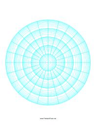 This Printable Polar Graph Paper Incorporates Five Decades