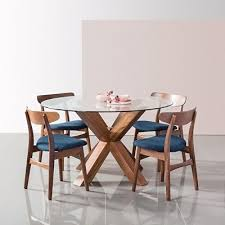 oscar round dining table glass solid walnut timber 130cm diameter