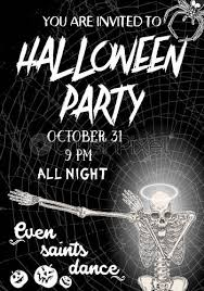 Halloween Dance Flyer Templates Stock Vector Halloween Vertical Background With Skeletons Dancing Dab Flyer Or Invitation Template For Halloween Party And Night Handwritten