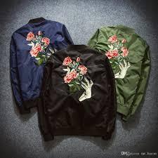 Designer Mens Letterman Jacket Rose Printing Designer Bomber Jackets Mens New Satin Fabrics Stand Collar Varsity Hip Hop Coat Ma 1 Flight Jacket Men Letterman Jacket Mens Jacket