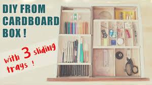 3 level cardboard desk drawer organizer with sliding trays recycle diy
