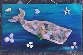 sea glass whale mosaic with s