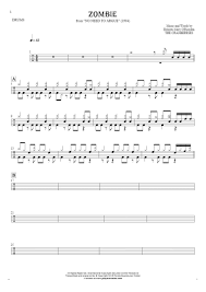 drum set sheet music zombie notes for drum kit playyournotes