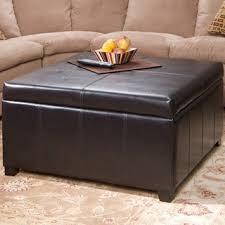 Berkeley Espresso Leather Storage Ottoman Coffee Table GDF Studio
