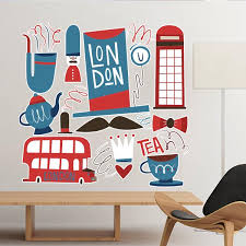tower bus uk england landmark flag mark ilration pattern removable wall sticker city buildings art decals mural diy wallpaper for room decal