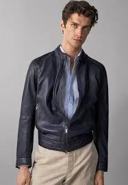mit steppnÄhten leather jacket blue